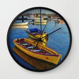 Yellow fishing boat, Santa Luzia, Portugal Wall Clock