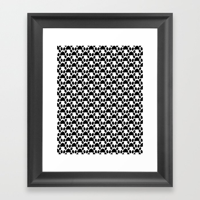Black and white 2 cat paw prints framed art print