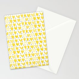Yellow Doodle Hearts Stationery Cards