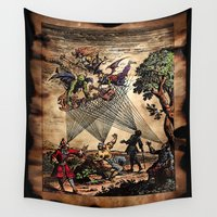 medieval Wall Tapestries featuring Medieval Minstrel Spirits by Scott Jackson Monsterman Graphic