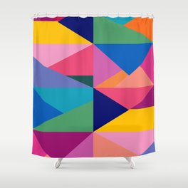 Geometric Color Block Shower Curtain