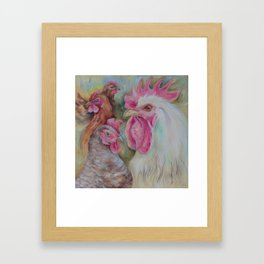 Rooster & Hen Chickens Painting Country style decor Vegan Birds lover gift Framed Art Print