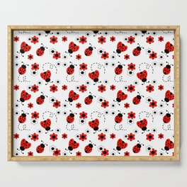 Red Ladybug Floral Pattern Serving Tray