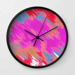 pink blue orange and red painting abstract with white background Wall Clock
