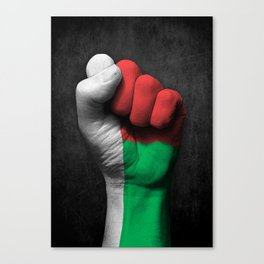 Madagascar Flag on a Raised Clenched Fist Canvas Print
