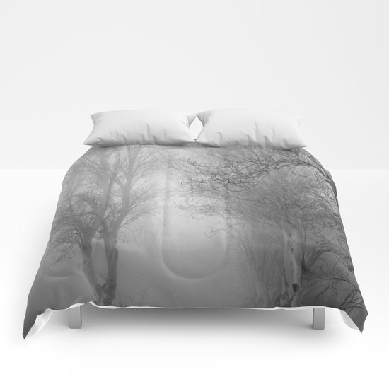 """Follow it,  love your forests....."". Monochrome Comforters"
