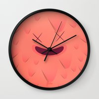 furry Wall Clocks featuring Furry Square by Flester