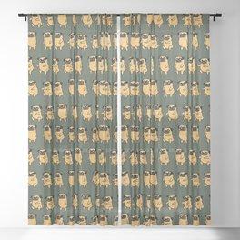 Pug Air Squats Sheer Curtain