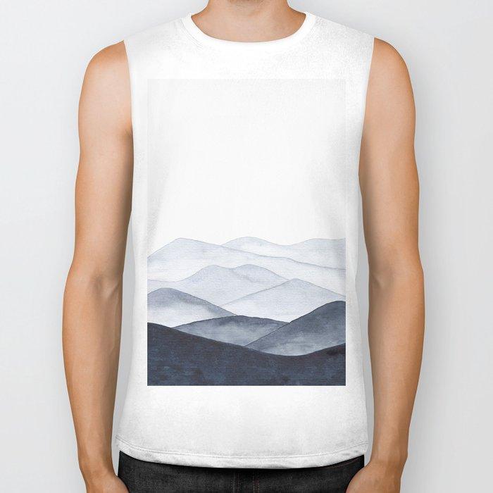 Watercolor Mountains Biker Tank