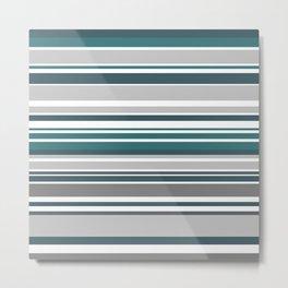 Turquoise Stripes Seamless Pattern Metal Print