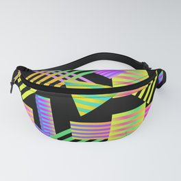 Neon Ombre 90's Striped Shapes Fanny Pack