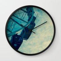 ferris wheel Wall Clocks featuring Ferris Wheel by Tracy Wong