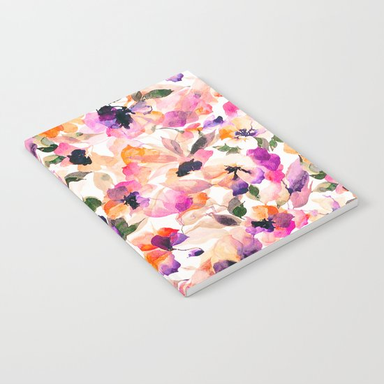 Chic Floral Pattern Pink Orange Pastel Watercolor Notebook