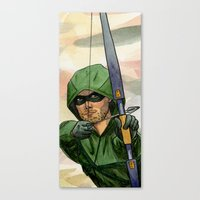 green arrow Canvas Prints featuring Arrow by Nicole Cuvin