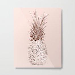 Rose Gold Pineapple on Blush Pink Metal Print