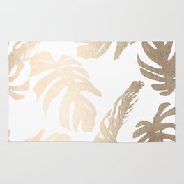 Simply Tropical Palm Leaves in White Gold Sands Rug