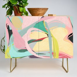 Shapes and Layers no.23 - Abstract Draper pink, green, blue, yellow Credenza