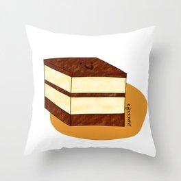 A square tiramisu cake Throw Pillow