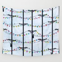 telephone Wall Tapestries featuring Telephone Poles - FLAGS by Julie's Fabrics & Thingummies