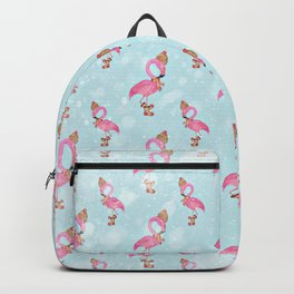 From Flamingo Birds And Christmas-Cute teal XMas Pattern Backpack