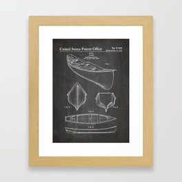 Canoe Patent - Kayak Art - Black Chalkboard Framed Art Print