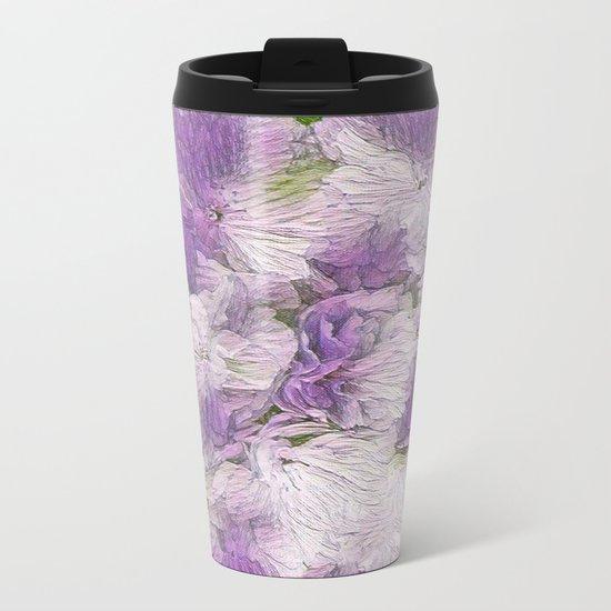 Purple - Lavender Fluffy Floral Abstract Metal Travel Mug