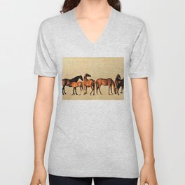 Classical Master Piece Circa 1762  Rockingham Mares and Foals by George Stubbs Unisex V-Neck