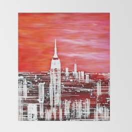 Abstract Red In The City Design Throw Blanket