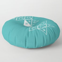 Teal Unrolled D20 Floor Pillow