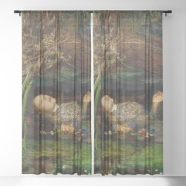 Ophelia from Hamlet Oil Painting by Sir John Everett Millais Sheer Curtain