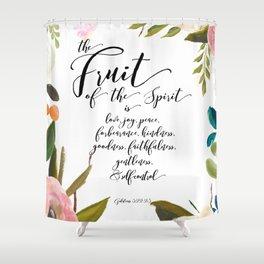 Fruit of the Spirit, blush pink floral palette Shower Curtain