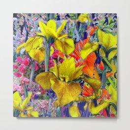 Yellow Iris Abstract Metal Print