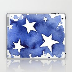 Stars Abstract Blue Watercolor Geometric Painting Laptop & iPad Skin