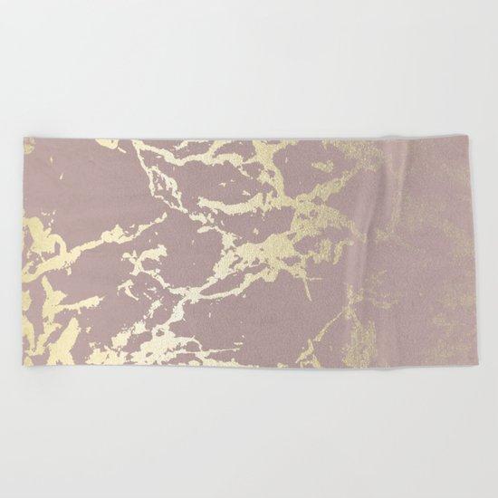Simply Kintsugi Ceramic Gold on Clay Pink Beach Towel