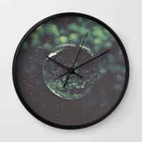 globe Wall Clocks featuring Snow Globe by Jane Lacey Smith