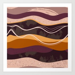 Abstract waves hand drawn illustration pattern Art Print