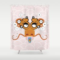dragons Shower Curtains featuring DRAGONS by Lola Montiel