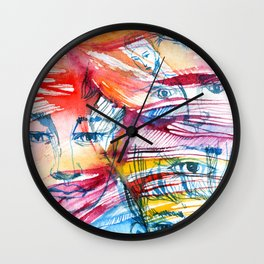 Abstract watercolor painting with faces Wall Clock
