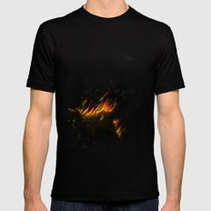This Cat Is On Fire! Black LARGE Mens Fitted Tee