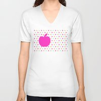 apple V-neck T-shirts featuring *Apple* by Mr and Mrs Quirynen