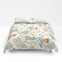 Prickly Pear Cacti and Triangles Comforters