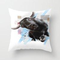 bull Throw Pillows featuring bull by e12art