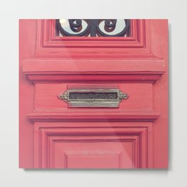 Cartas - Letters (Pink vintage door with old mailbox) Metal Print