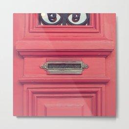 Cartas - Letters (Pink vintage door with old mailbox) Metal Print