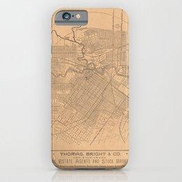 Beautiful 19th Century Vintage Map of Houston, Texas iPhone Case