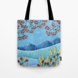 Winter Mountain Colorful Fields Tote Bag