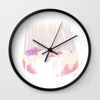 cake Wall Clocks featuring Cake by Hayley Powers Studio