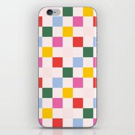 Retro Bauhaus Pattern | Abstract Shapes | Geometric Checks iPhone Skin
