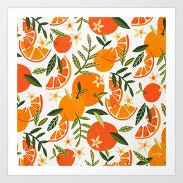 Orange Blooms – White Palette Art Print