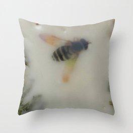 Bee in the Garden 2 (encaustic) Throw Pillow
